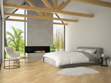 Interior of bedroom with fireplace 3D rendering