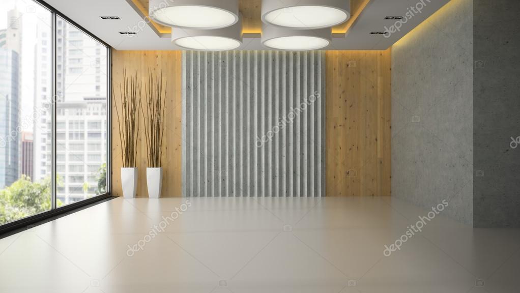 Interior de una habitación vacía con representación 3d del panel de ...