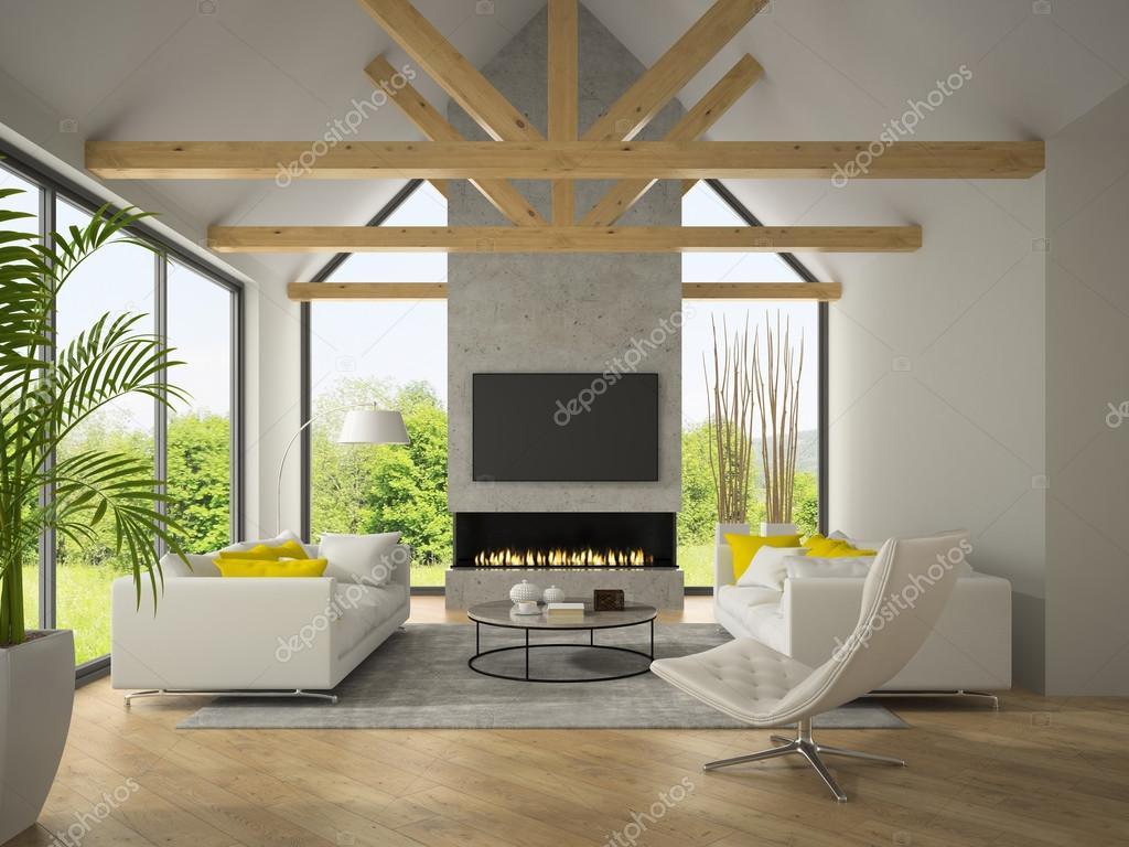 Interieur van een woonkamer met sofa\'s en open haard 3D-rendering ...