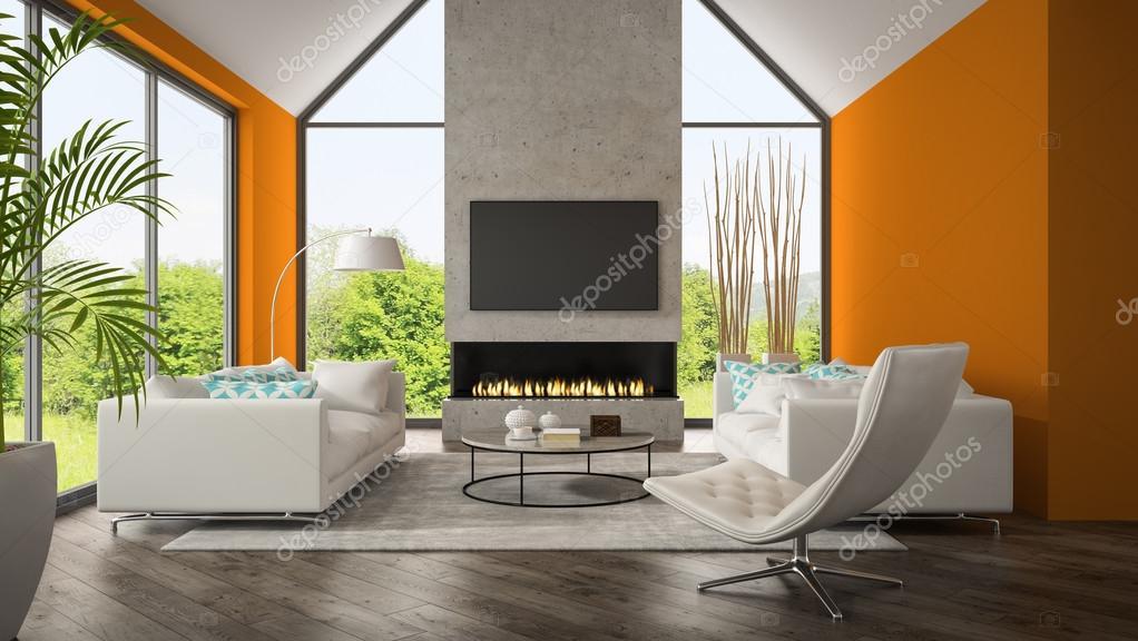 Interieur van een woonkamer met oranje muur en open haard 3d render ...