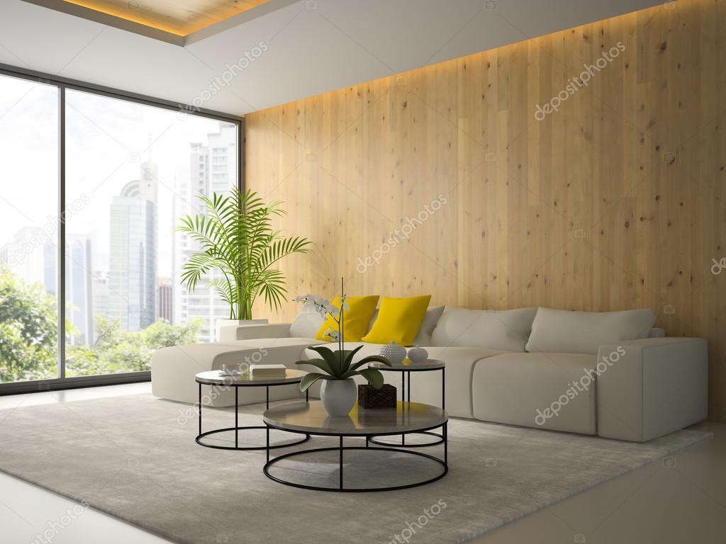 Boom In Woonkamer : Interieur van een woonkamer met boom koffietafel 3d rendering