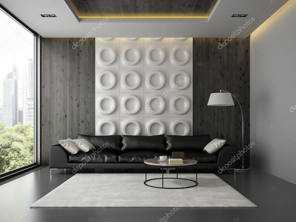 Woonkamer Zwarte Bank : Interieur van een woonkamer met zwarte bank 3d rendering u2014 stockfoto