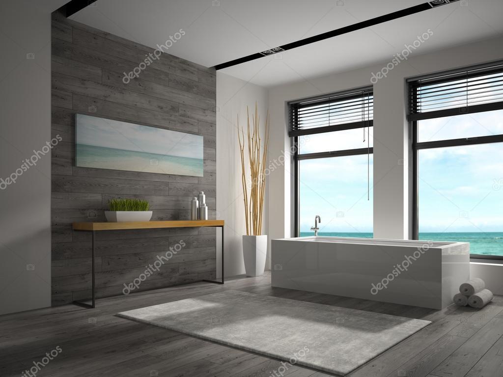 Salle De Bain Avec Vue ~ int rieur de la salle de bain avec vue sur la mer rendu 3d