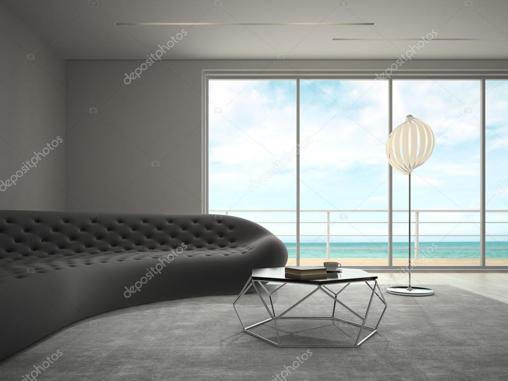Innere des modernen Design-Zimmer mit Meer Blick 3D-Rendering ...