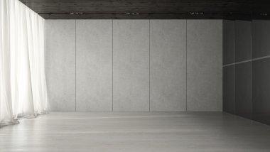 Interior of empty room 3D rendering