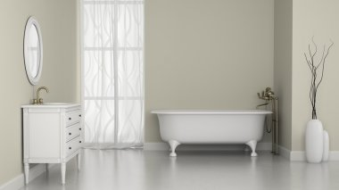 Interior of classic bathroom with white walls
