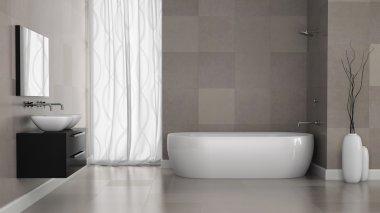 Interior of modern bathroom with grey tiles  wall