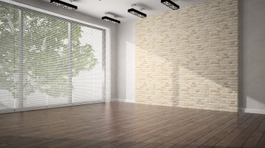 Empty room whith brick wall and dark floor