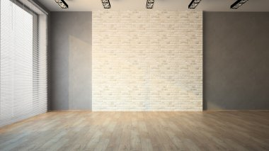 Empty room whith brick wall and jalousie