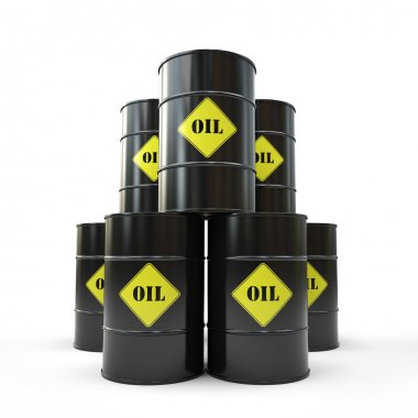 Pyramid of black oil barrel