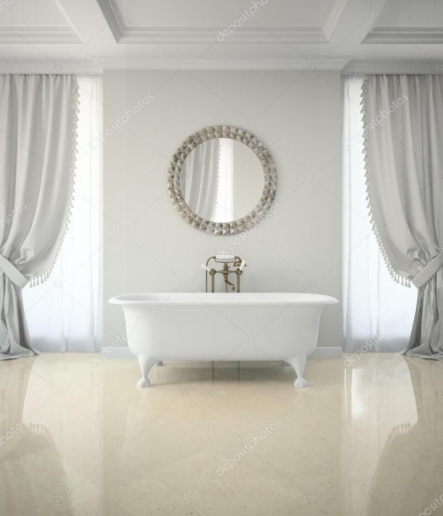Interior of classic bathroom with curtains round mirror 3D rende ...