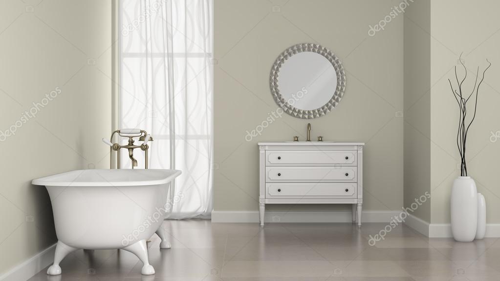 Ronde Spiegel Badkamer : Interieur van klassieke badkamer met ronde spiegel en vazen
