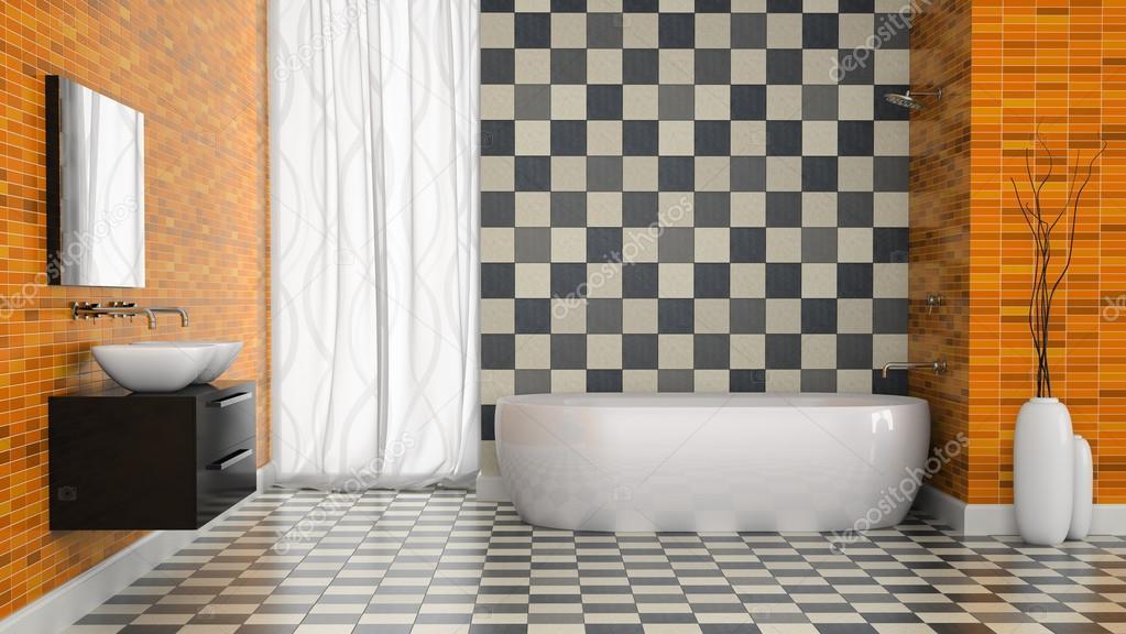 Interno del bagno moderno con la parete di piastrelle bianco e nero