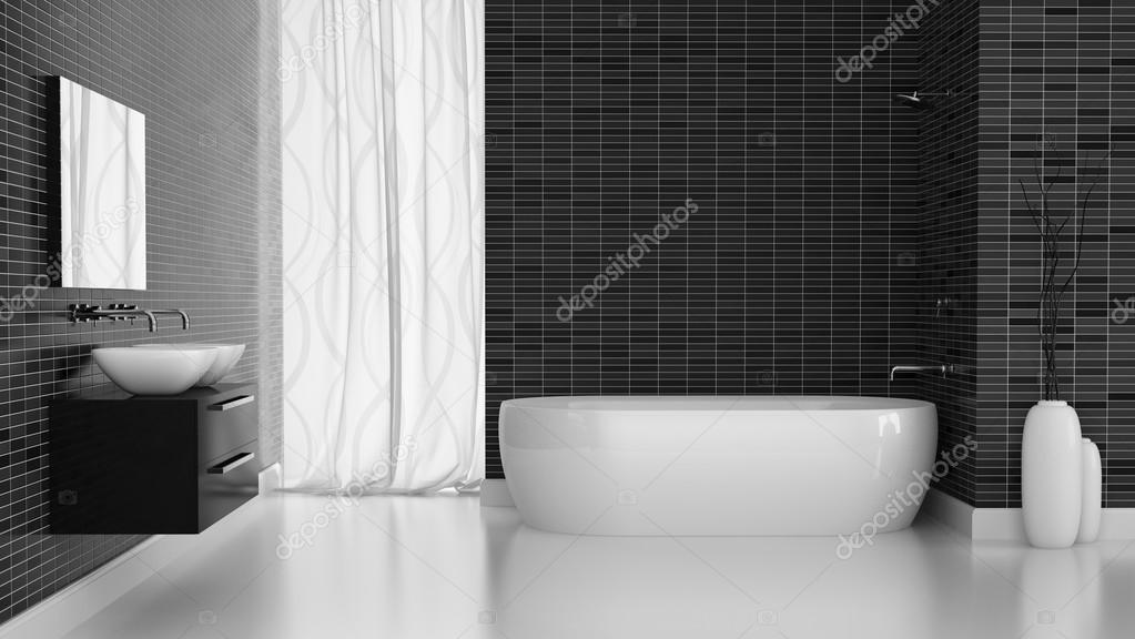 Interno del bagno moderno con la parete di piastrelle nere u2014 foto