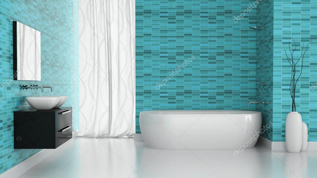 Interior Of Modern Bathroom With Blue Tiles Wall. 3D Concept U2014 [著者]の写真 ...