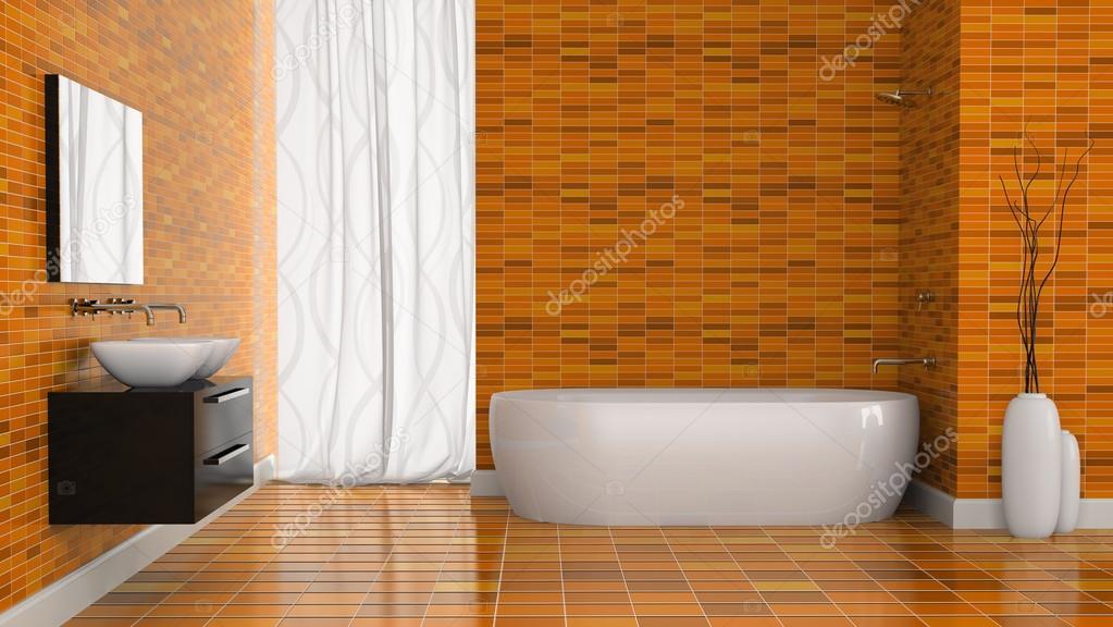 Interno del bagno moderno con la parete di piastrelle arancione