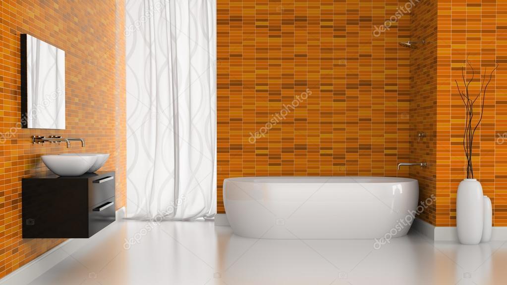 Piastrelle Bagno Arancione.Interni Del Bagno Moderno Con L Arancio Piastrelle Pareti