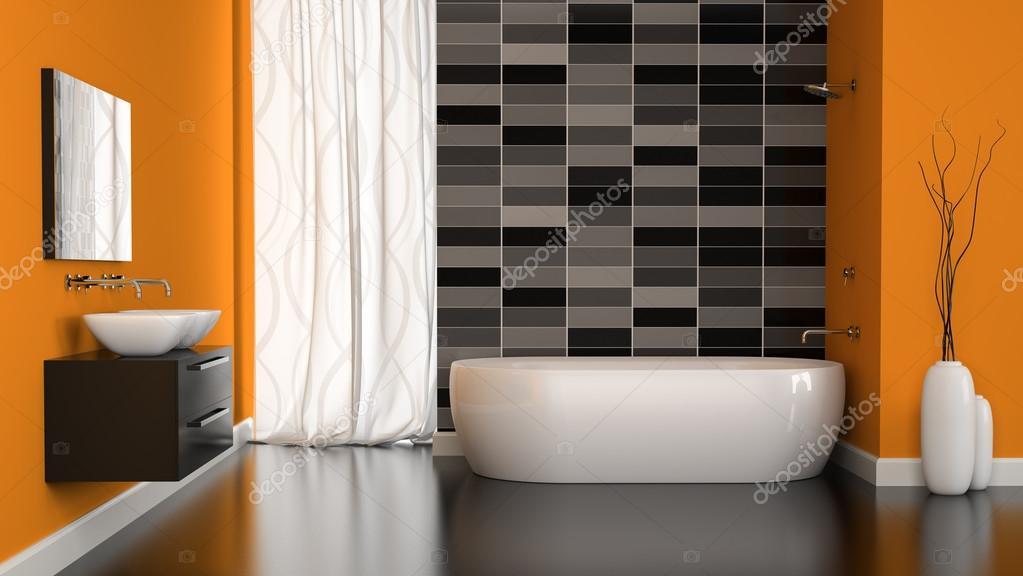 Interno del bagno moderno con la parete arancione u foto stock