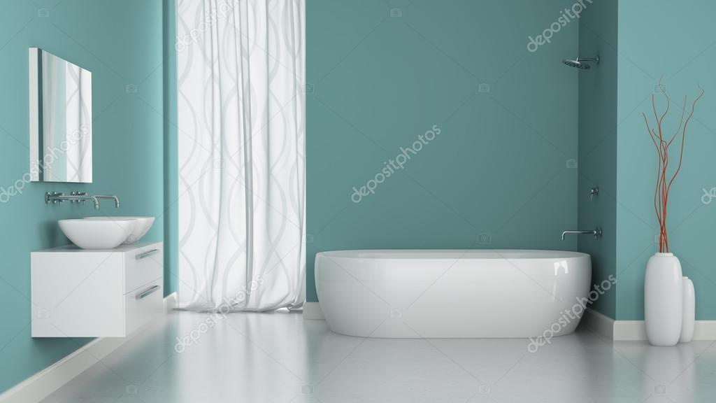 Interno del bagno moderno con le pareti blu u foto stock hemul
