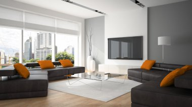 Modern interior with two sofas and ornge pillows 3D rendering