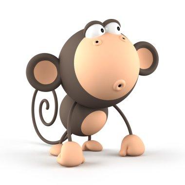 Cartoon  monkey isolated on white background 3D rendering 2