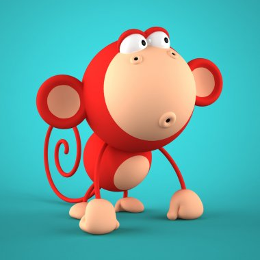 Cartoon red monkey isolated on blue background 3D rendering
