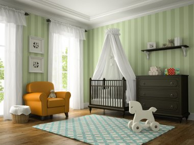 Classic children room with yellow armchair 3D rendering