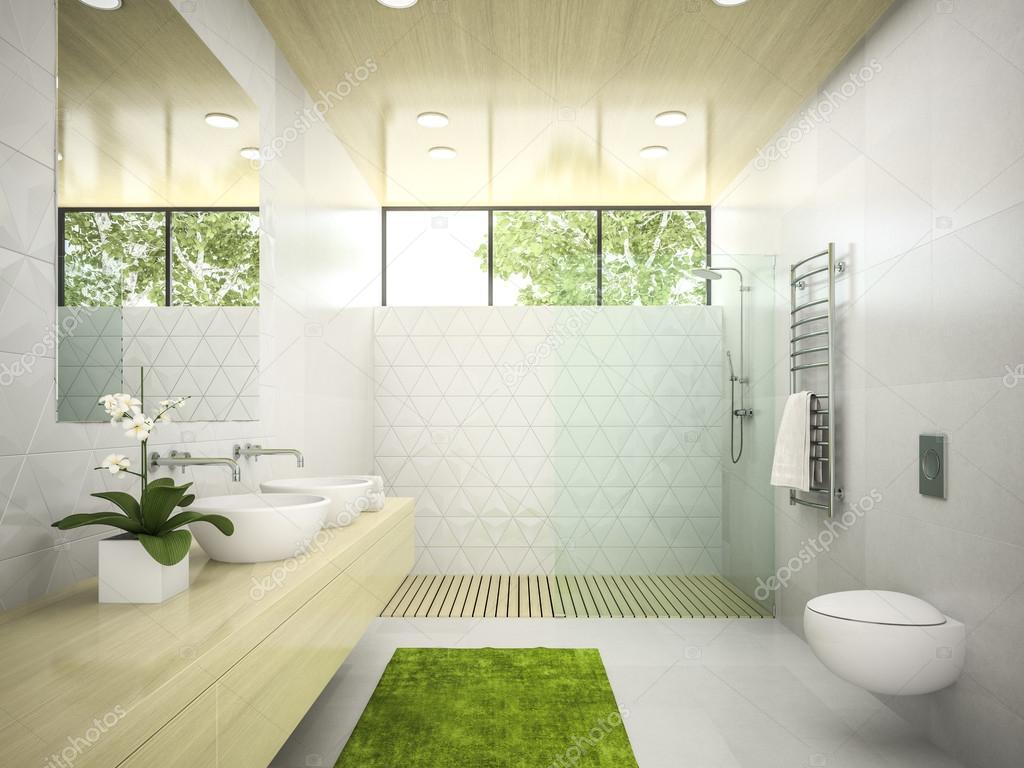 Interieur van de badkamer met houten plafond 3d rendering 5 ...