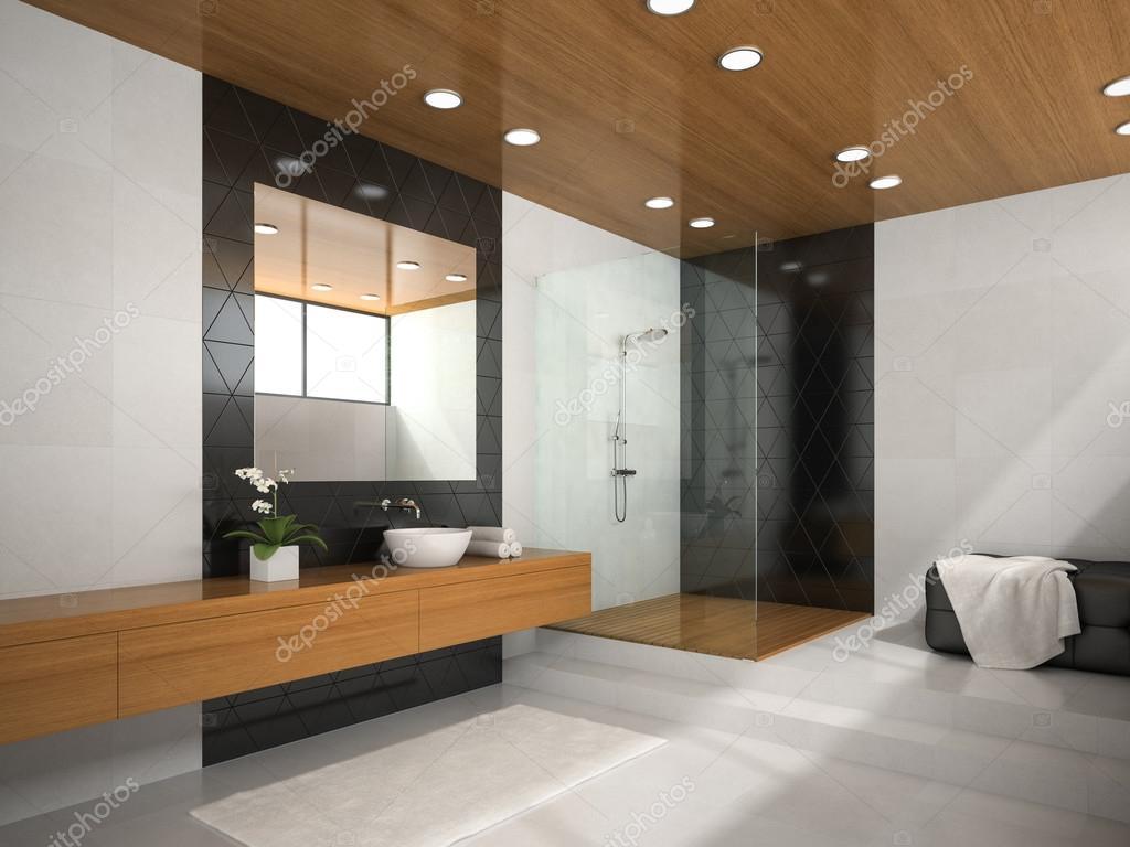 Plafond Badkamer Maken : Interieur van de badkamer met houten plafond d rendering