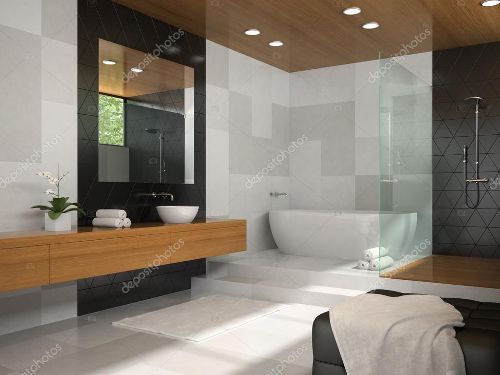 Laminaat Plafond Badkamer : Badkamer met houten plafond: interieur van de badkamer met houten
