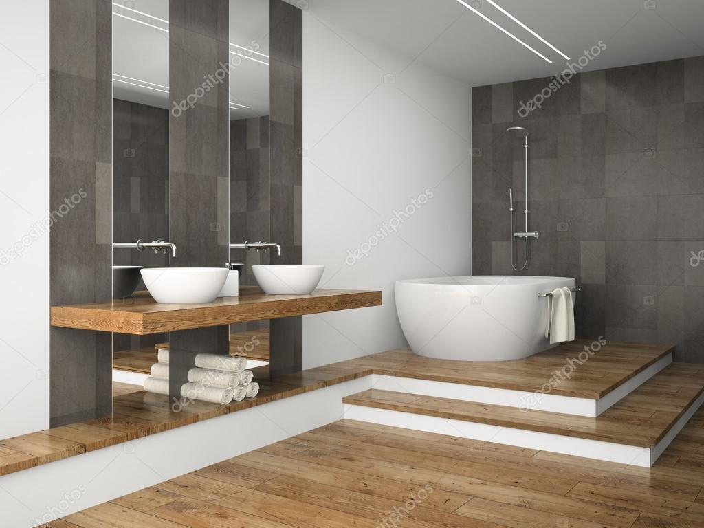 Houten Vloer Badkamer : Interieur van de badkamer met houten vloer 3d rendering u2014 stockfoto