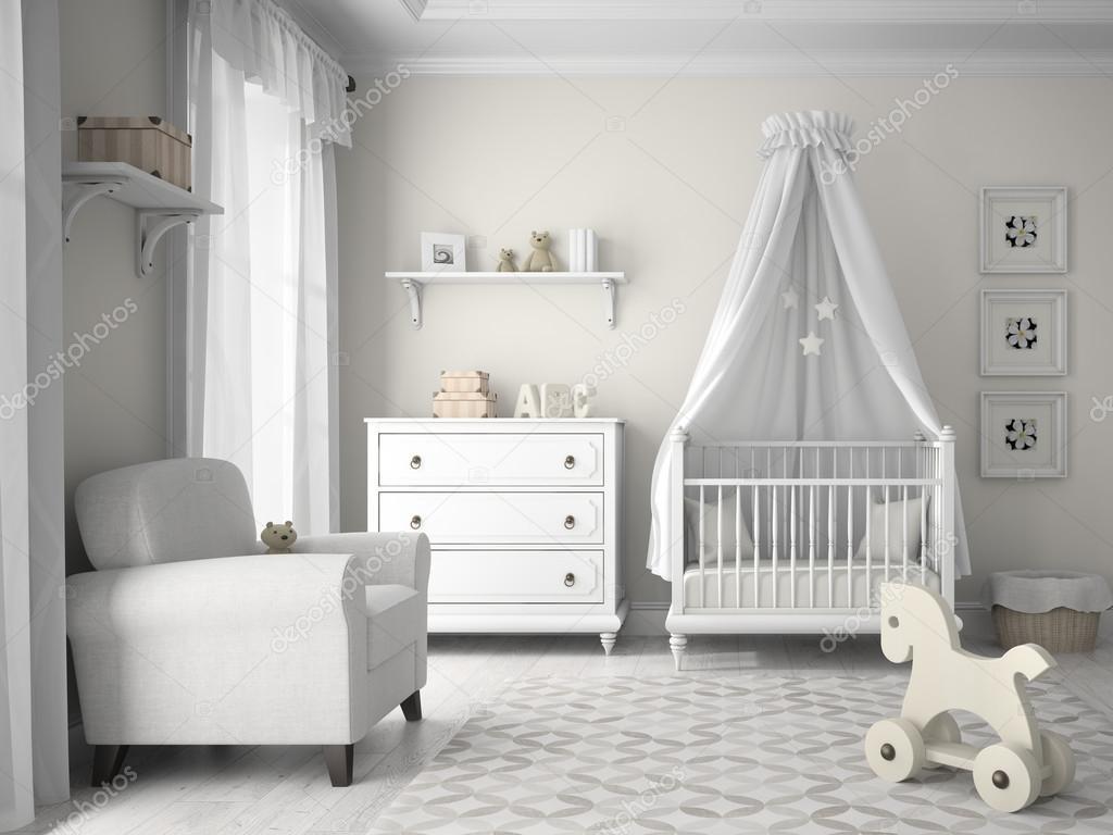 Babykamer met mooie kleuren materialen en meubels inrichting