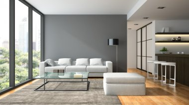 Interior of the modern design  loft  with black lampl 3D renderi