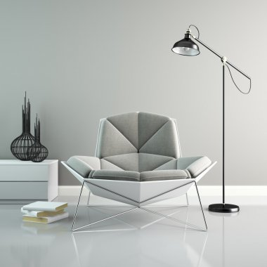 Part of interior with modern grey armchair 3D rendering 2