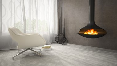 Part of interior with fireplace and white armchair 3D rendering
