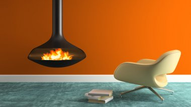 Part of interior with fireplace and modern armchair 3D rendering