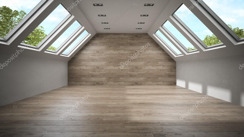vider la chambre mansarde avec mur en bois rendu 3d 2 photographie hemul75 87871412. Black Bedroom Furniture Sets. Home Design Ideas