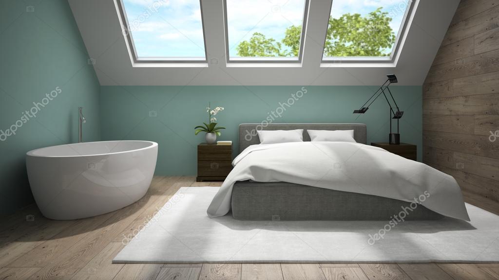Gaas Het Interieur : Interieur van mansard schoon met blauwe muur d rendering