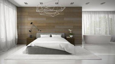 Interior of modern badroom with bathtube 3D rendering