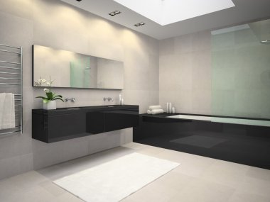 Interior of bathroom with ceiling window 3D rendering 3