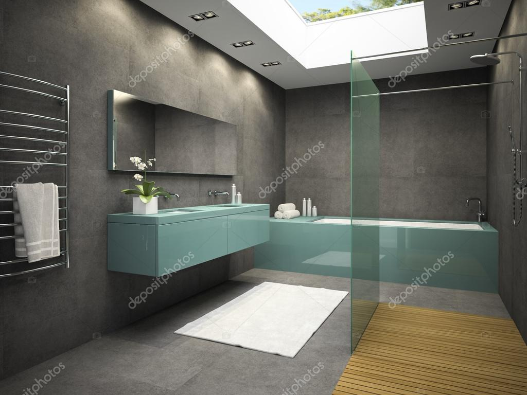 interiore della stanza da bagno con finestra sul soffitto