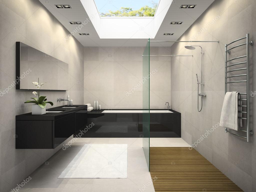 Innenraum des Badezimmer mit Fenster an der Decke 3D-Rendering ...