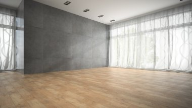 Empty modern design room with parquet floor 3D rendering 2