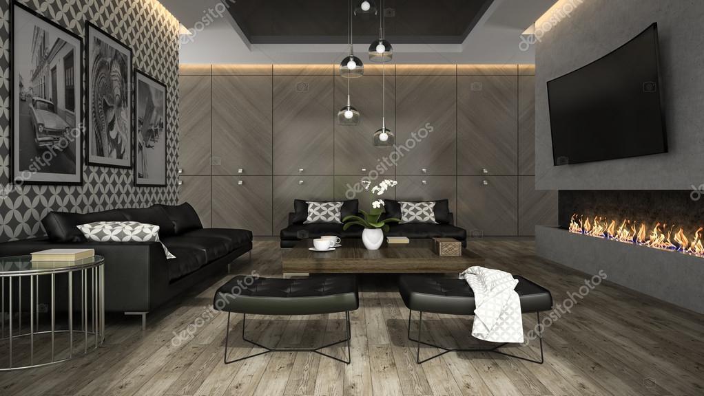 Interior del salón con papel pintado elegante renderizado 3d 4 ...