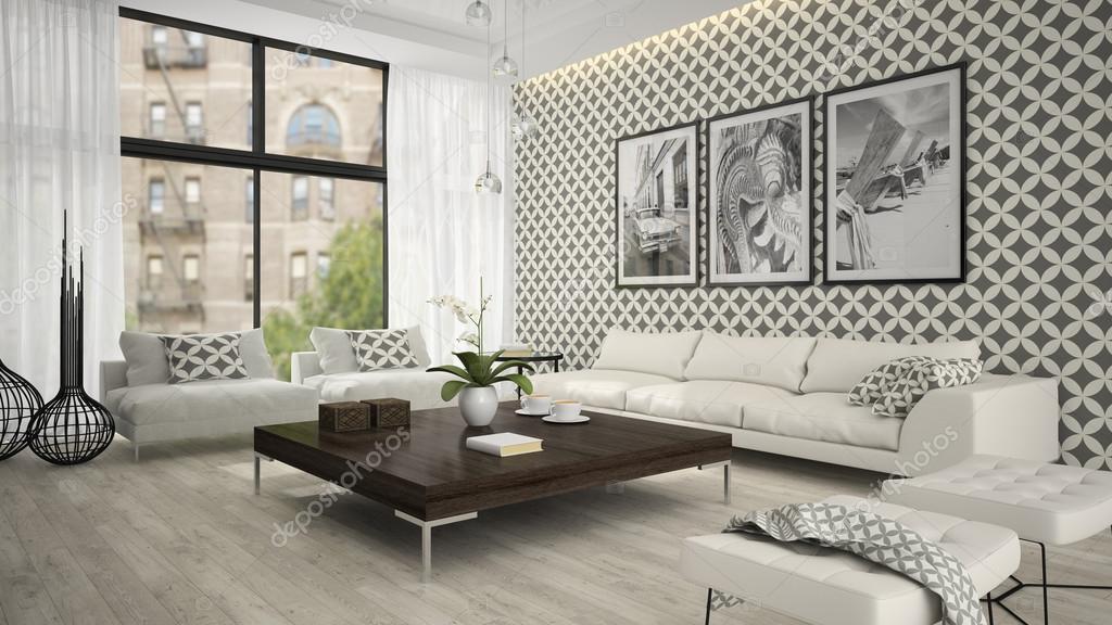 A nappali elegáns tapéta 3d rendering belső 2 — Stock Fotó ...