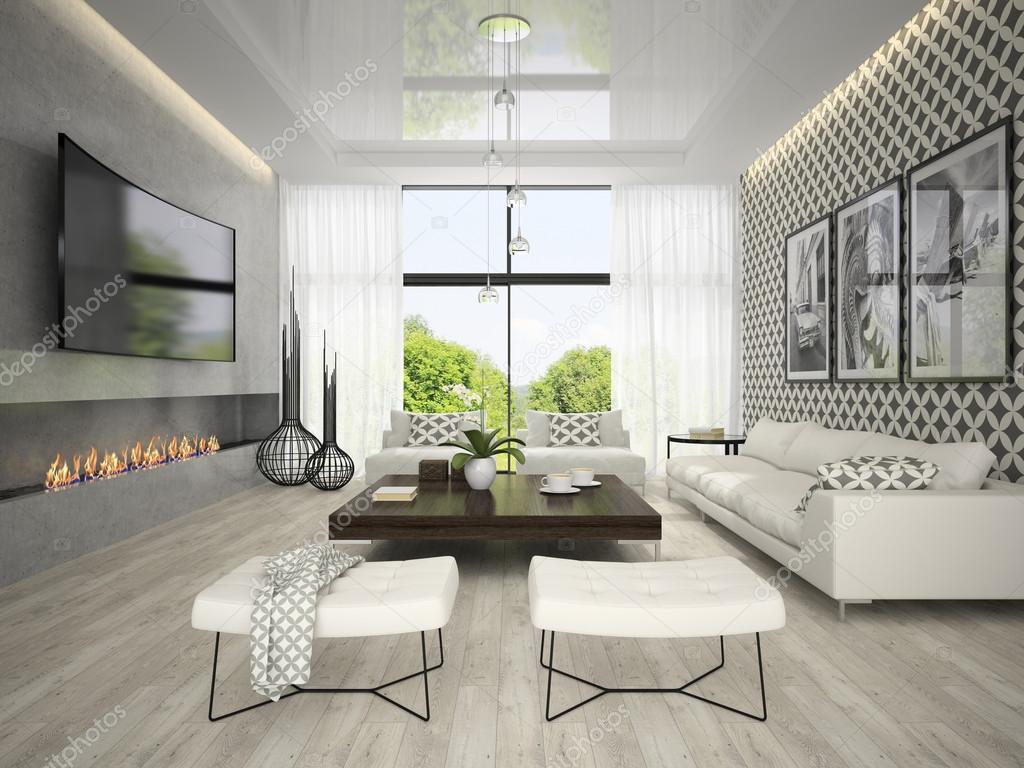 Interieur van woonkamer met boom posters 3D-rendering — Stockfoto ...