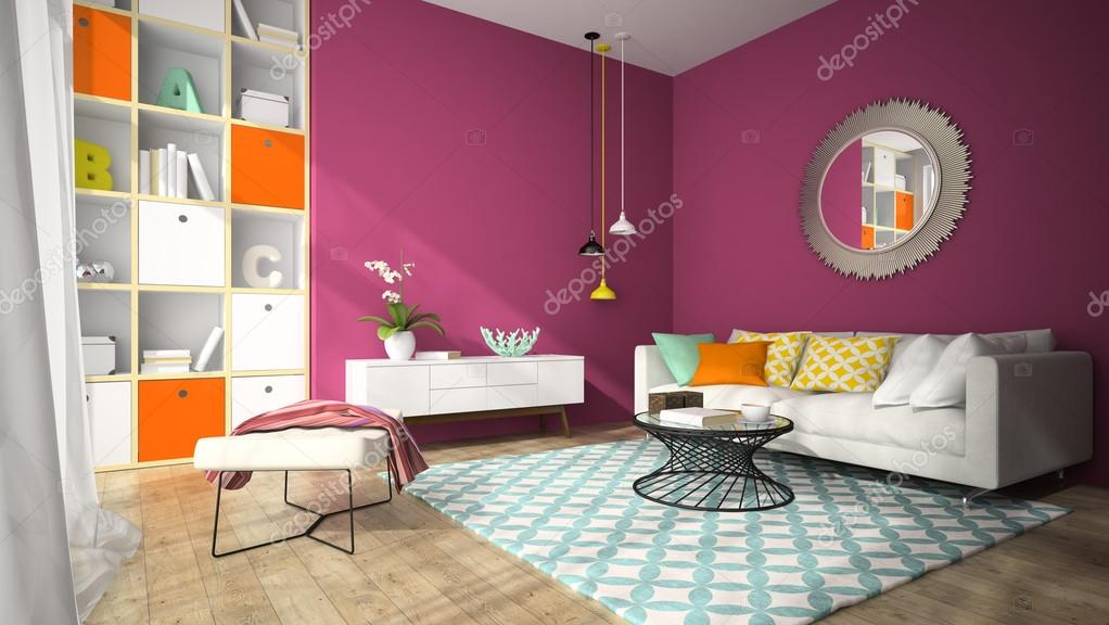 Interior of modern design living room with round mirror 3D rende ...