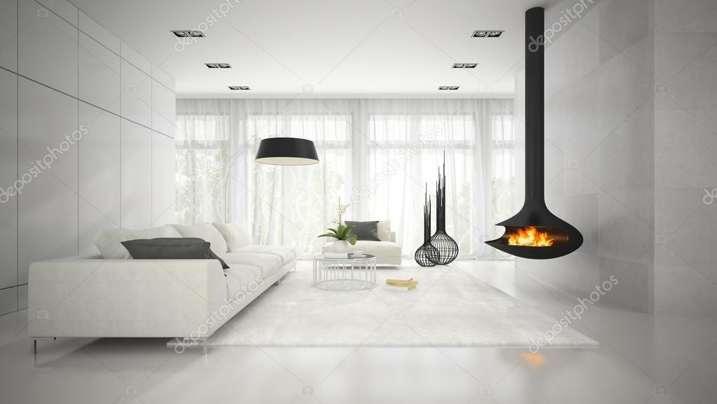 Interieur van moderne design witte kamer met open haard d