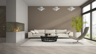 Interior of modern room with fireplace and palm 3D rendering 3