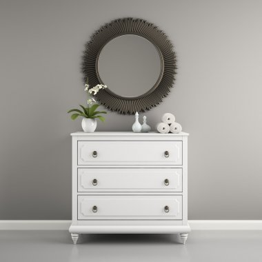 Part of  interior with stylish commode 3D rendering